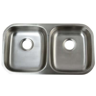 Loft 32.25 x 18.5 Undermount 18 Gauge ADA Compliant Double Bowl Kitchen Sink