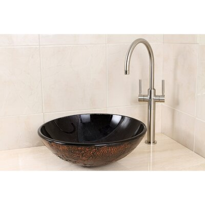 Fauceture Glass Circular Vessel Bathroom Sink Sink Color: Onyx