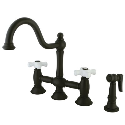 Restoration Double Handle Deck Mount Kitchen Faucet with Spray Finish: Oil Rubbed Bronze