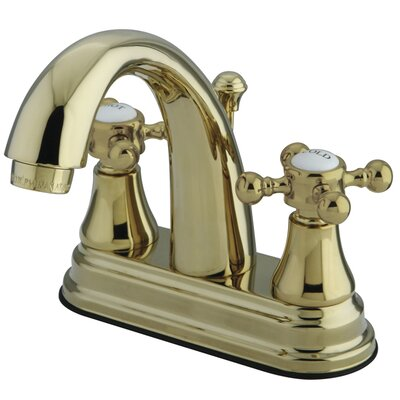 English Vintage Double Handle Centerset Bathroom Faucet with Pop-Up Drain Finish: Brass