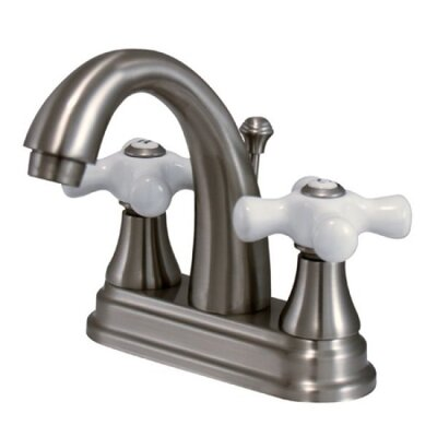English Vintage Double Handle Centerset Bathroom Faucet with Pop-Up Drain Finish: Nickel
