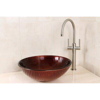 Fauceture Glass Circular Vessel Bathroom Sink Sink Color: Copper Stone