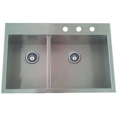 Uptowne 31.5 x 20.5 Self-Rimming 60/40 Offset Double Bowl Kitchen Sink