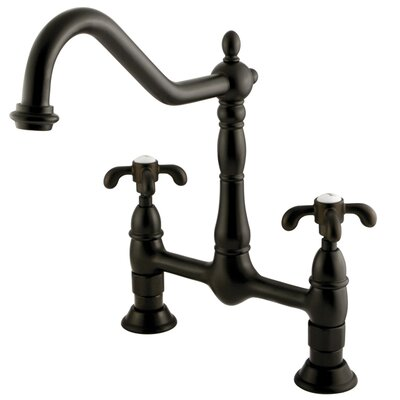 French Country Double Handle Centerset Kitchen Faucet Finish: Oil Rubbed Bronze
