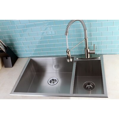 Uptowne 33 x 22 Self-Rimming 70/30 Double Bowl Kitchen Sink