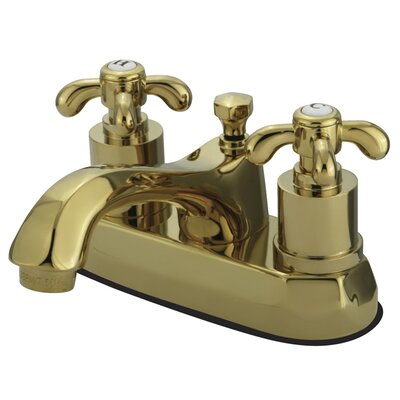 French Country Double Handle Centerset Bathroom Faucet with Pop-Up Drain Finish: Polished Brass