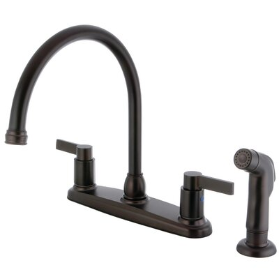 Double Handle Centerset Kitchen Faucet with Side Sprayer Finish: Oil Rubbed Bronze