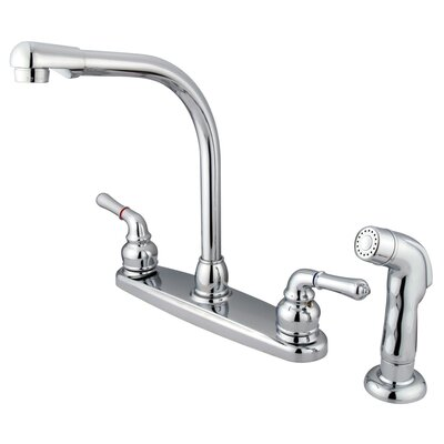 Magellan Double Handle Centerset Kitchen Faucet with Sprayer Finish: Polished Chrome