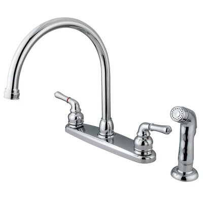 Magellan Double Handle Centerset Kitchen Faucet with Plastic Sprayer Finish: Polished Chrome