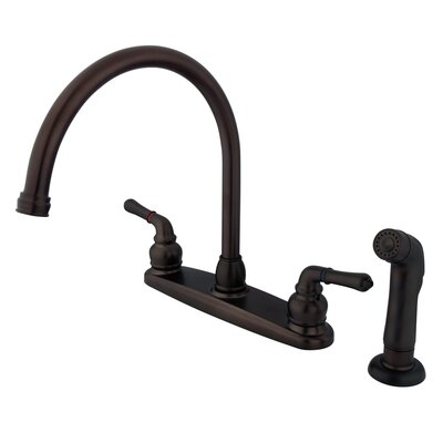 Magellan Double Handle Kitchen Faucet with Side Spray Finish: Oil Rubbed Bronze