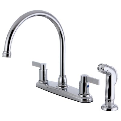 Double Handle Kitchen Faucet with Side Sprayer Finish: Polished Chrome
