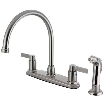 Double Handle Centerset Kitchen Faucet with Side Sprayer Finish: Satin Nickel