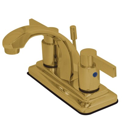 Double Handle Centerset Lavatory Bathroom Faucet with Retail Pop-Up Finish: Polished Brass