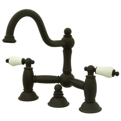 Restoration Double Handle Widespread Bathroom Sink Faucet with Brass Pop-up Finish: Oil Rubbed Bronze