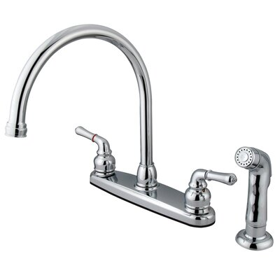 Magellan Double Handle Kitchen Faucet with Non-Metallic Side Spray Finish: Polished Chrome
