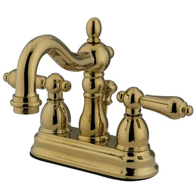 Heritage Double Handle Centerset Bathroom Faucet with ABS Pop-Up Drain Finish: Polished Brass