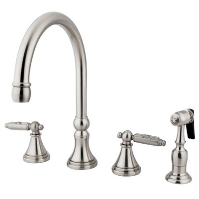 Georgian Gourmetier Double Handle Kitchen Faucet Finish: Satin Nickel
