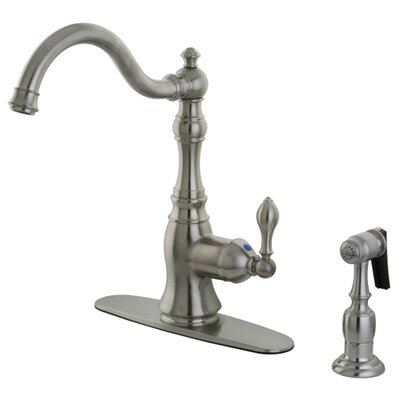 American Classic Single Handle Kitchen Faucet with Side Spray Finish: Satin Nickel
