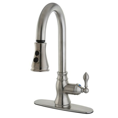 American Classic Single Handle Kitchen Faucet with Pull Down Spout Finish: Satin Nickel