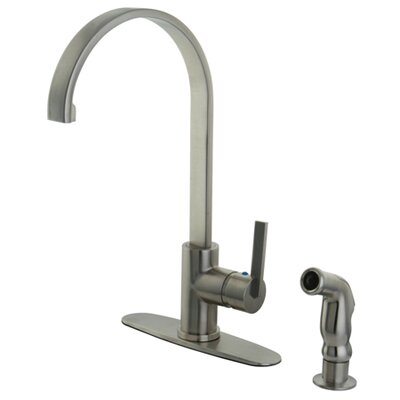 Continental Single Handle Kitchen Faucet with Side Spray Finish: Satin Nickel
