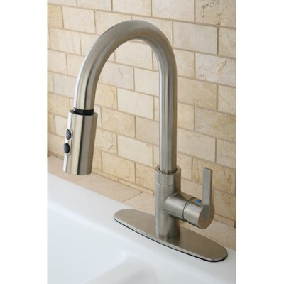 Continental Gourmetier Single Handle Kitchen Faucet with Pull Down Spout Finish: Satin Nickel