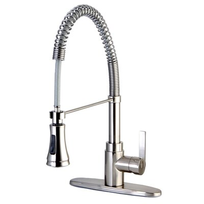 Continental Gourmetier Single Handle Pull-Down Spray Kitchen Faucet Finish: Satin Nickel