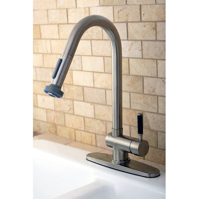 Kaiser Pull Down Single Handle Kitchen Faucet Finish: Satin Nickel