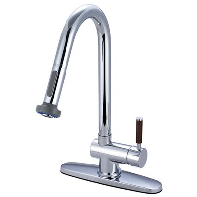 Wilshire Gourmetier Single Handle Pull-Down Spray Kitchen Faucet Finish: Polished Chrome
