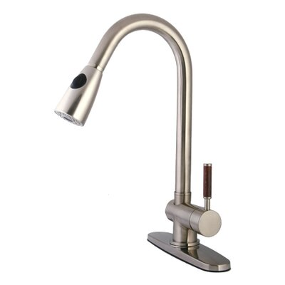 Wilshire Gourmetier Single Handle Pull-Down Spray Kitchen Faucet Finish: Satin Nickel