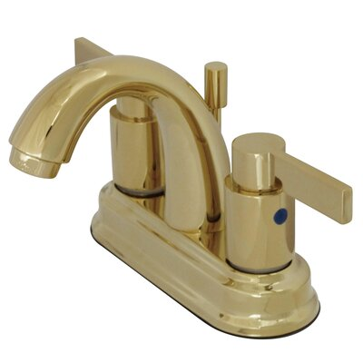 Nuvo Fusion Double Handle Centerset Bathroom Sink Faucet with Retail Pop-up Finish: Polished Brass