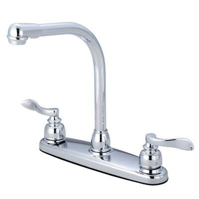 NuWave French Double Handle Centerset High-Arch Kitchen Faucet Side Spray: Without Spray