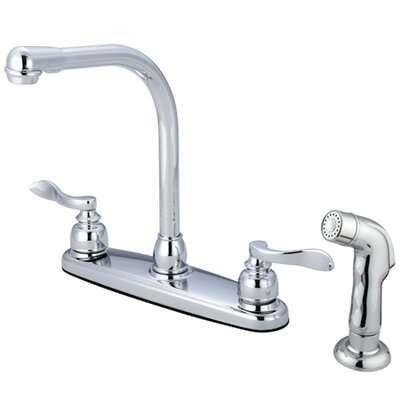 NuWave French Double Handle Centerset High-Arch Kitchen Faucet Side Spray: With Spray