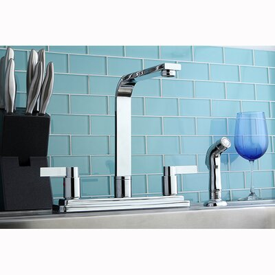 NuvoFusion Double Handle High Rise Spout Kitchen Faucet Side Spray: With Spray