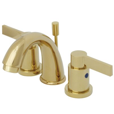 NuVo Fusion Double Handle Mini Widespread Bathroom Sink Faucet with Retail Pop-up Finish: Polished Brass