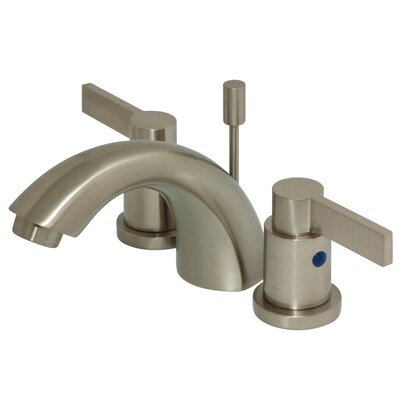 NuVo Fusion Double Handle Mini Widespread Bathroom Sink Faucet with Retail Pop-up Finish: Satin Nickel
