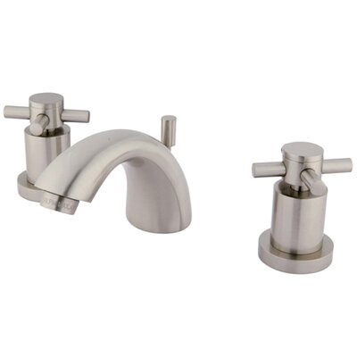 Concord Double Handle Mini Widespread Bathroom Faucet with Brass Pop-Up Drain Finish: Satin Nickel