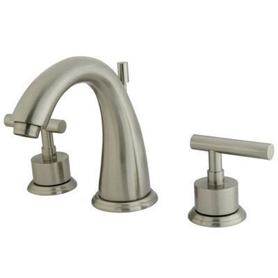 Manhattan Double Handle Widespread Bathroom Faucet with Brass Pop-up Finish: Satin Nickel