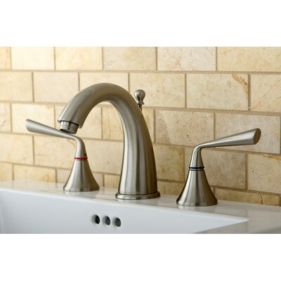 Silver Sage Double Handle Widespread Bathroom Faucet with Brass Pop-Up Drain Finish: Satin Nickel