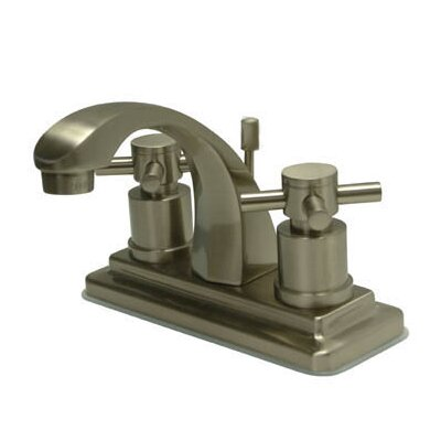 Concord Double Handle Centerset Bathroom Faucet with Brass Pop-Up Drain Finish: Satin Nickel