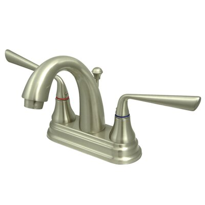Silver Sage Double Handle Centerset Bathroom Faucet with Brass Pop-Up Drain Finish: Satin Nickel