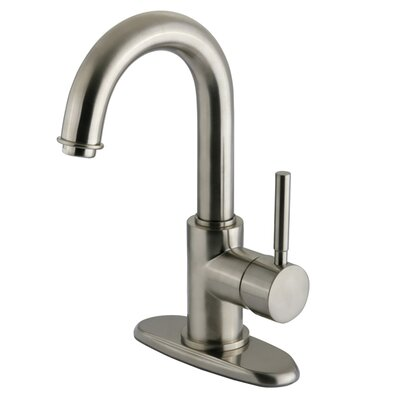 Concord Single Handle Centerset Bathroom Faucet with Push-Up and Optional Deck Plate Finish: Satin Nickel