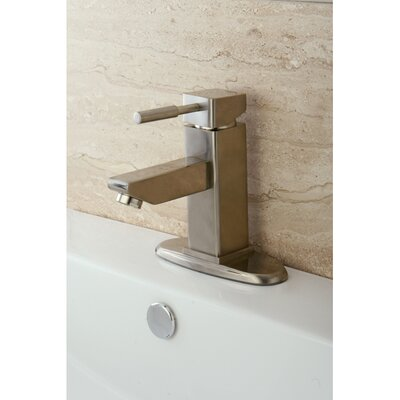 Concord Single Handle Bathroom Faucet with Push-Up and Deck Plate Finish: Satin Nickel