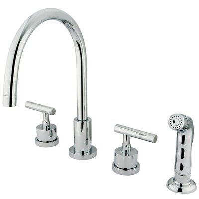 Manhattan Double Handle Widespread Kitchen Faucet with Non-Metallic Spray Finish: Polished Chrome