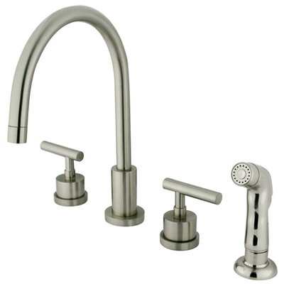 Manhattan Double Handle Widespread Kitchen Faucet with Non-Metallic Spray Finish: Satin Nickel