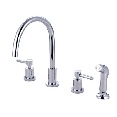 Concord Double Handle Widespread Kitchen Faucet with Non-Metallic Sprayer Finish: Satin Nickel, Side Spray: Without Spray