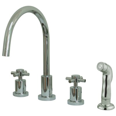 Concord Double Handle Widespread Kitchen Faucet Finish: Polished Chrome, Side Spray: With Side Spray