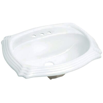 Heritage Vitreous China Rectangular Drop-In Bathroom Sink with Overflow