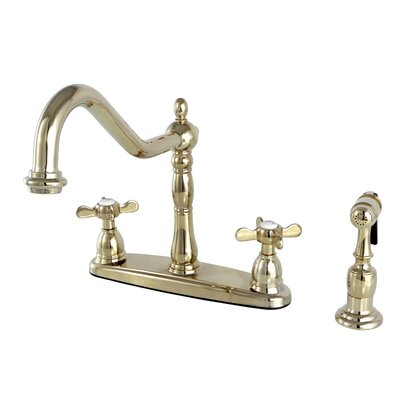 Essex Double Handle Deck Mounted Centerset Kitchen Faucet with Brass Sprayer Finish: Polished Brass