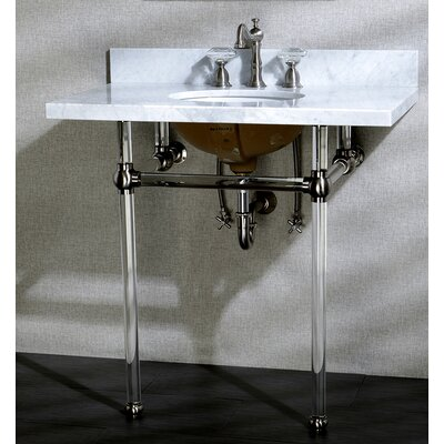 Templeton Ceramic 13 Console Bathroom Sink with Overflow Mount FInish: Satin Nickel