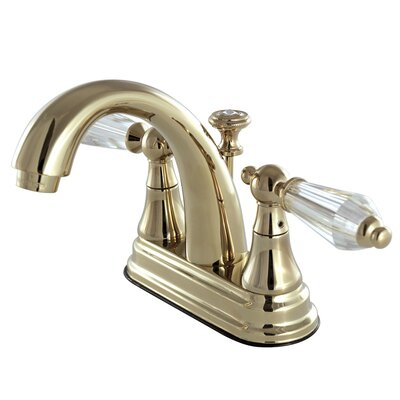Wilshire Standard Centerset Bathroom Faucet with Drain Assembly Finish: Polished brass